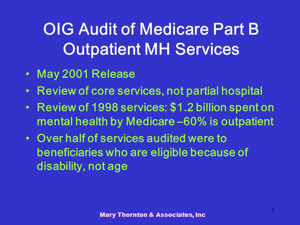 OIG Audit of Medicare Part B Outpatient MH Services