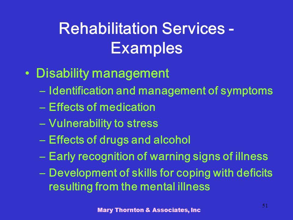 Rehabilitation Services - Examples