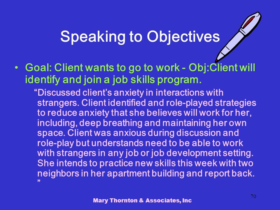 Speaking to Objectives