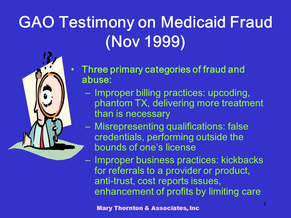 GAO Testimony on Medicaid Fraud (Nov 1999)