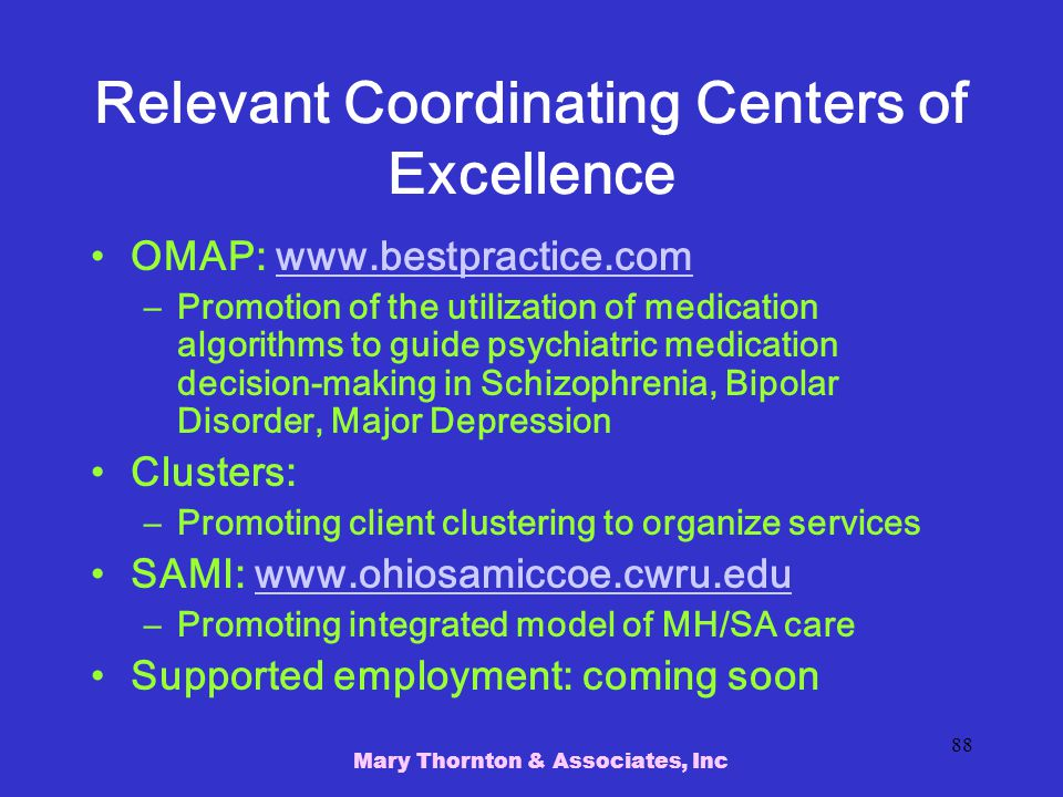 Relevant Coordinating Centers of Excellence