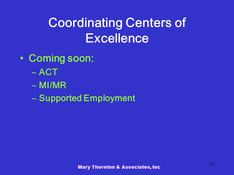 Coordinating Centers of Excellence