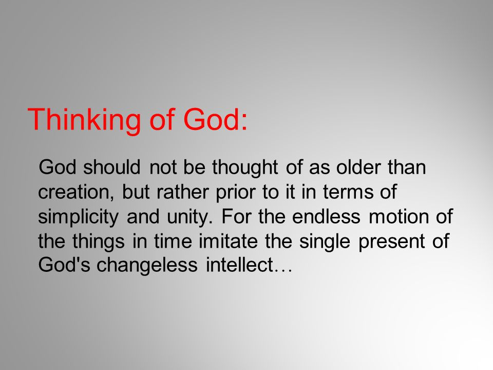 Thinking of God: