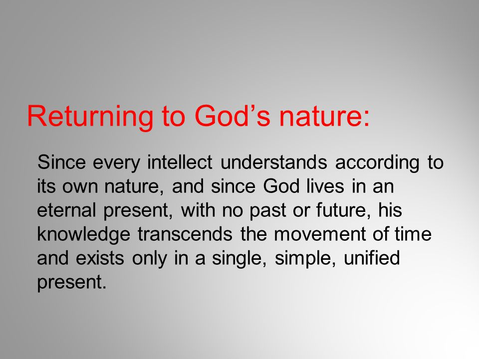 Returning to God's nature: