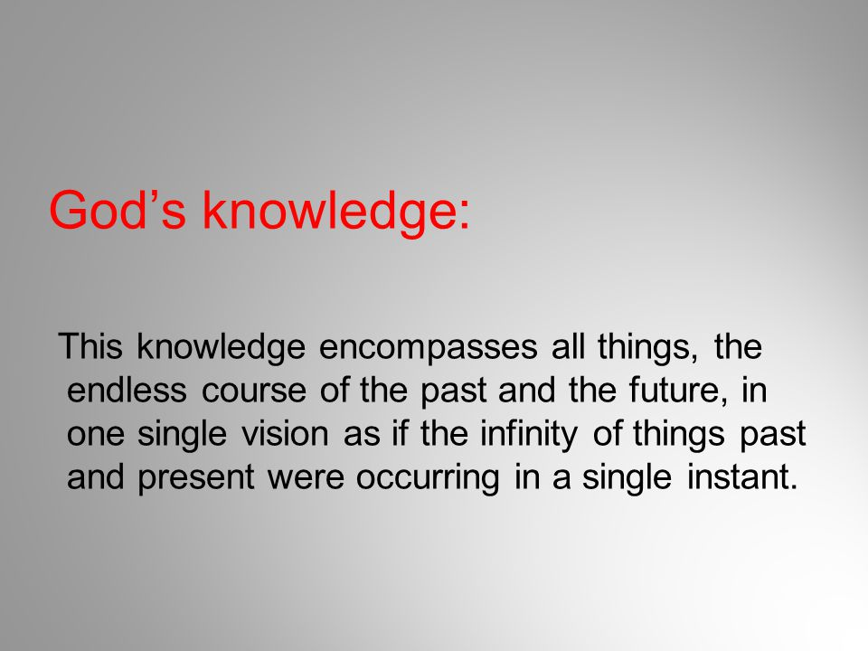 God's knowledge: