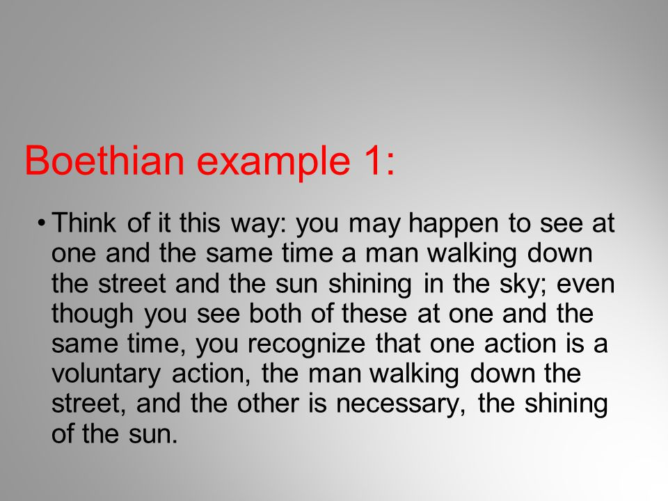 Boethian example 1: