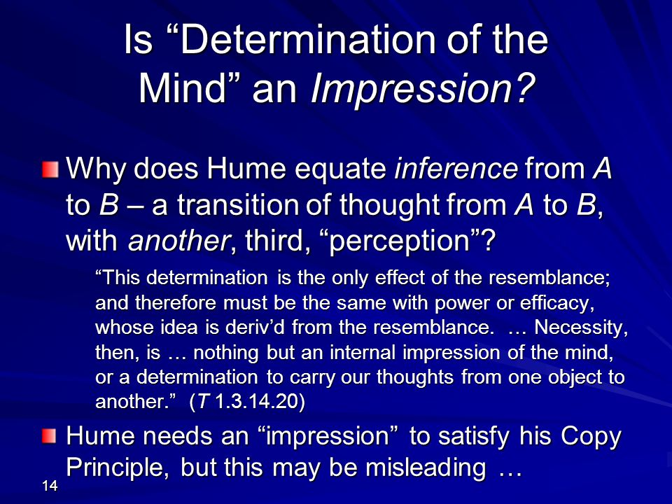 Is Determination of the Mind an Impression