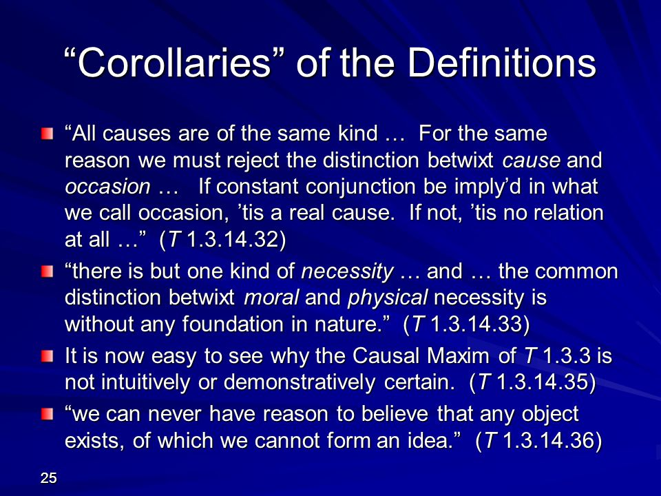 Corollaries of the Definitions