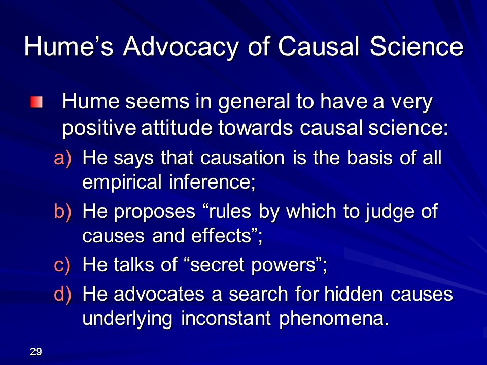 Hume's Advocacy of Causal Science