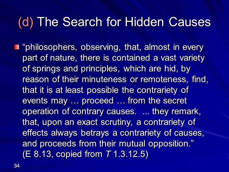 (d) The Search for Hidden Causes