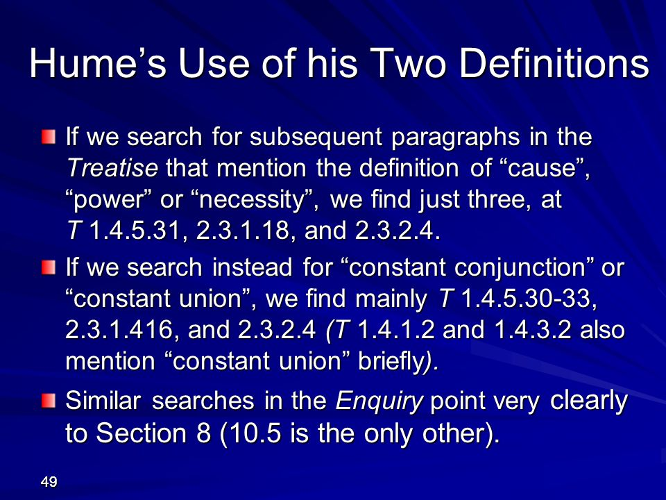 Hume's Use of his Two Definitions
