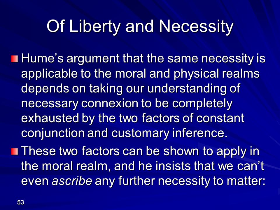 Of Liberty and Necessity