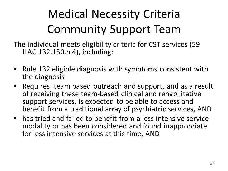 Medical Necessity Criteria Community Support Team