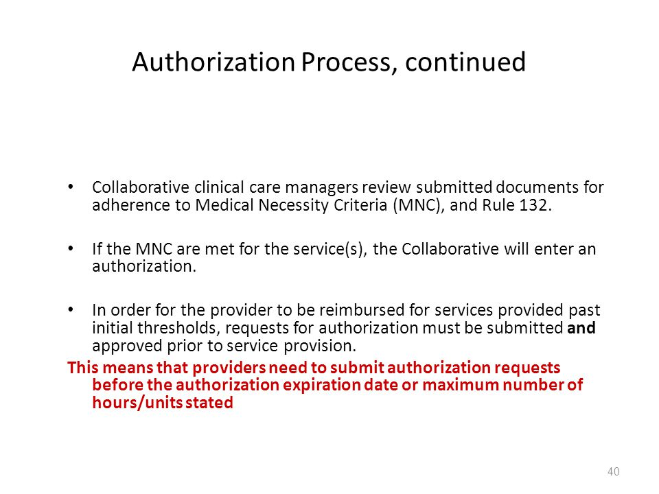 Authorization Process, continued