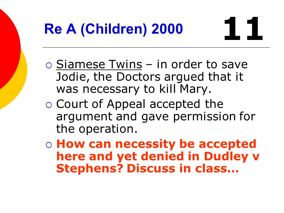 Re A (Children) 2000 11. Siamese Twins – in order to save Jodie, the Doctors argued that it was necessary to kill Mary.