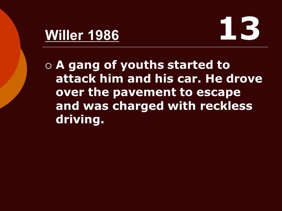 13 Willer 1986. A gang of youths started to attack him and his car.