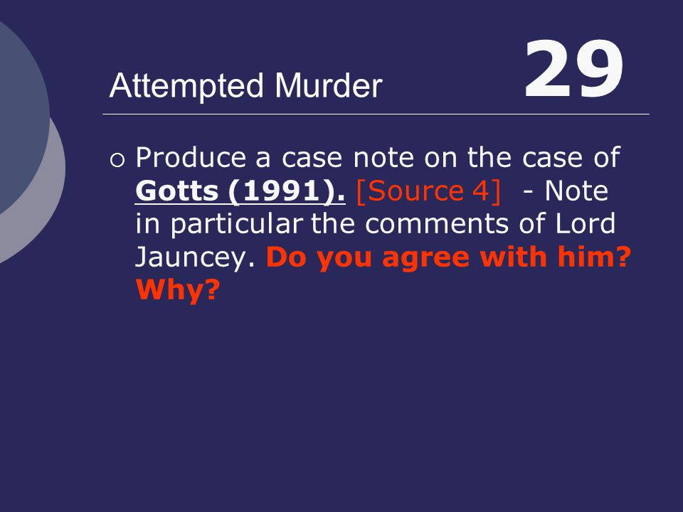 29 Attempted Murder.