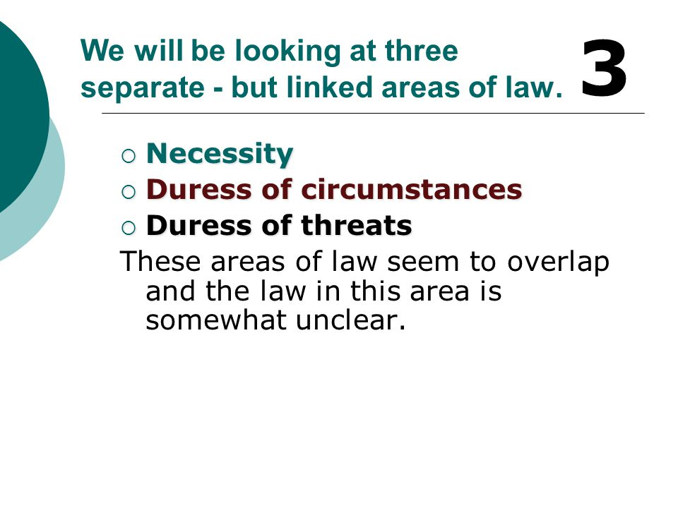 We will be looking at three separate - but linked areas of law.