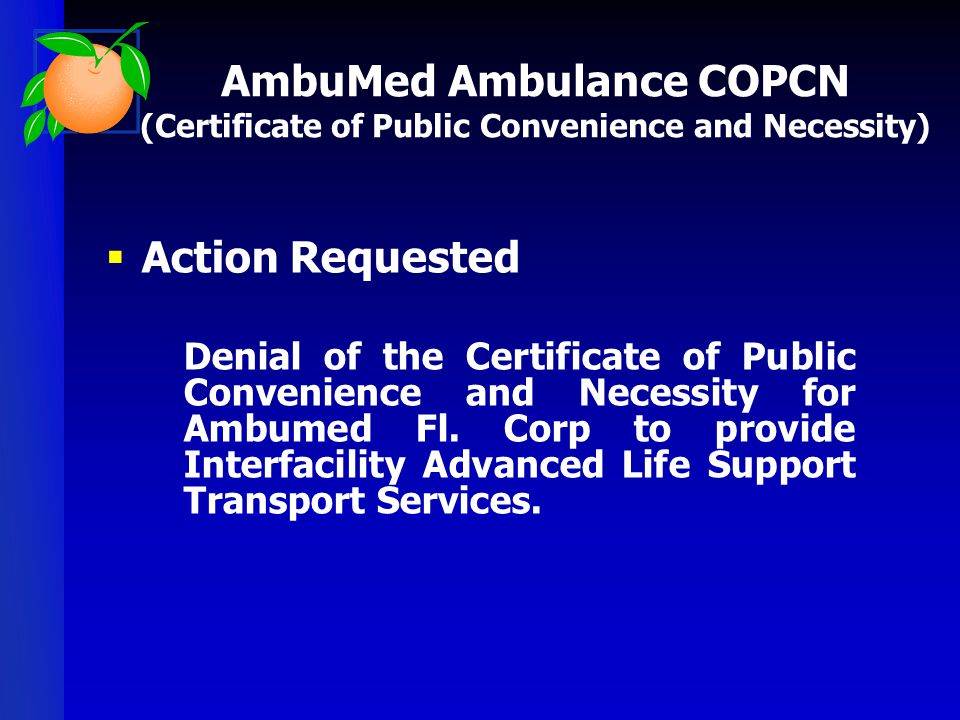 AmbuMed Ambulance COPCN (Certificate of Public Convenience and Necessity)