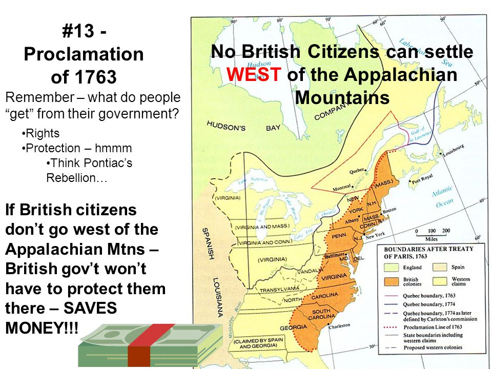 No British Citizens can settle WEST of the Appalachian Mountains