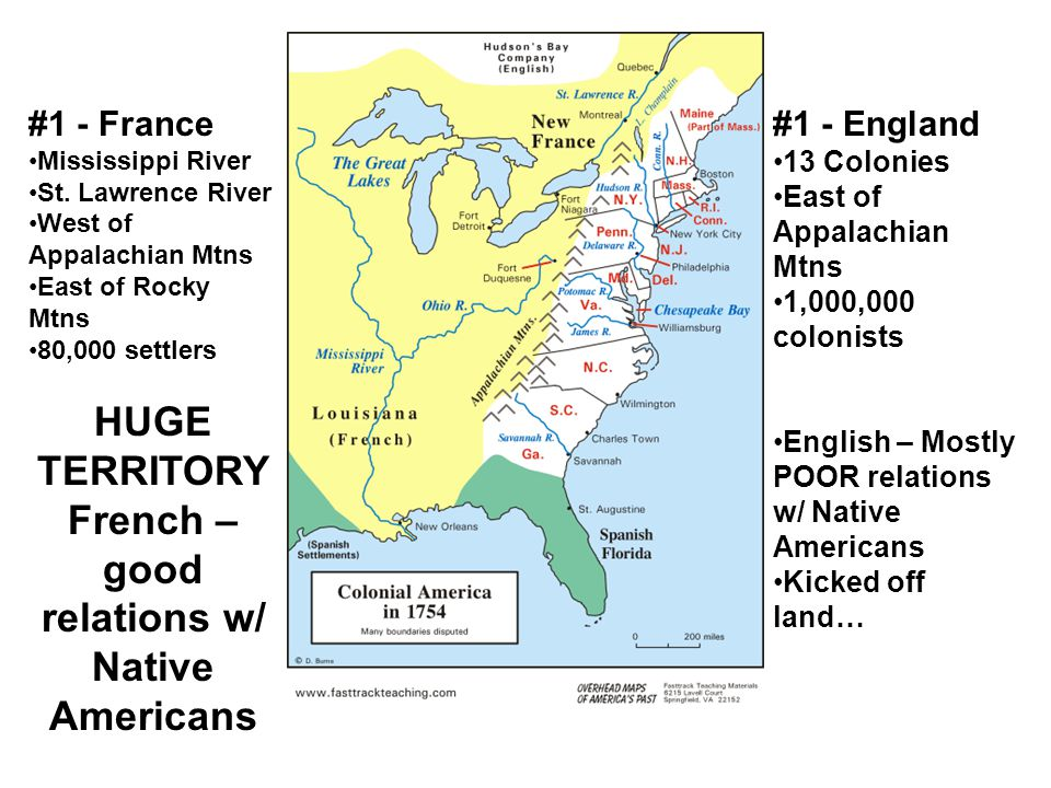 HUGE TERRITORYFrench – good relations w/ Native Americans
