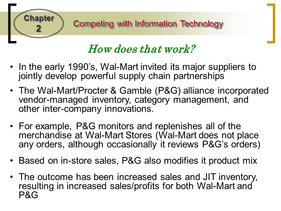 How does that work In the early 1990's, Wal-Mart invited its major suppliers to jointly develop powerful supply chain partnerships.