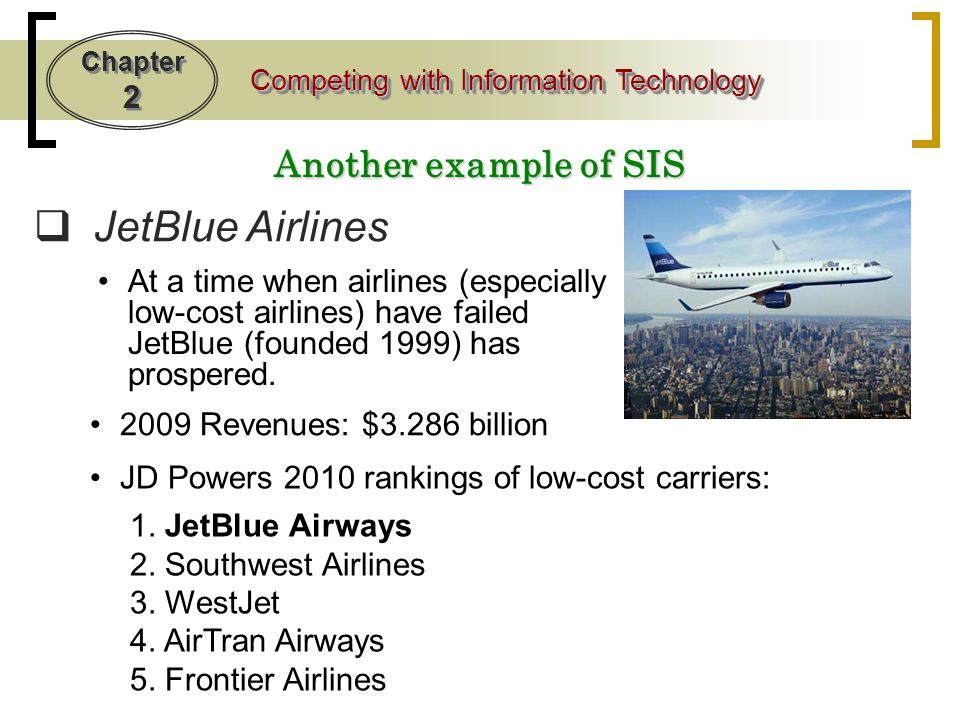 JetBlue Airlines Another example of SIS