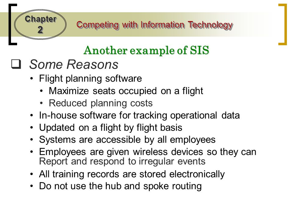 Some Reasons Another example of SIS Flight planning software