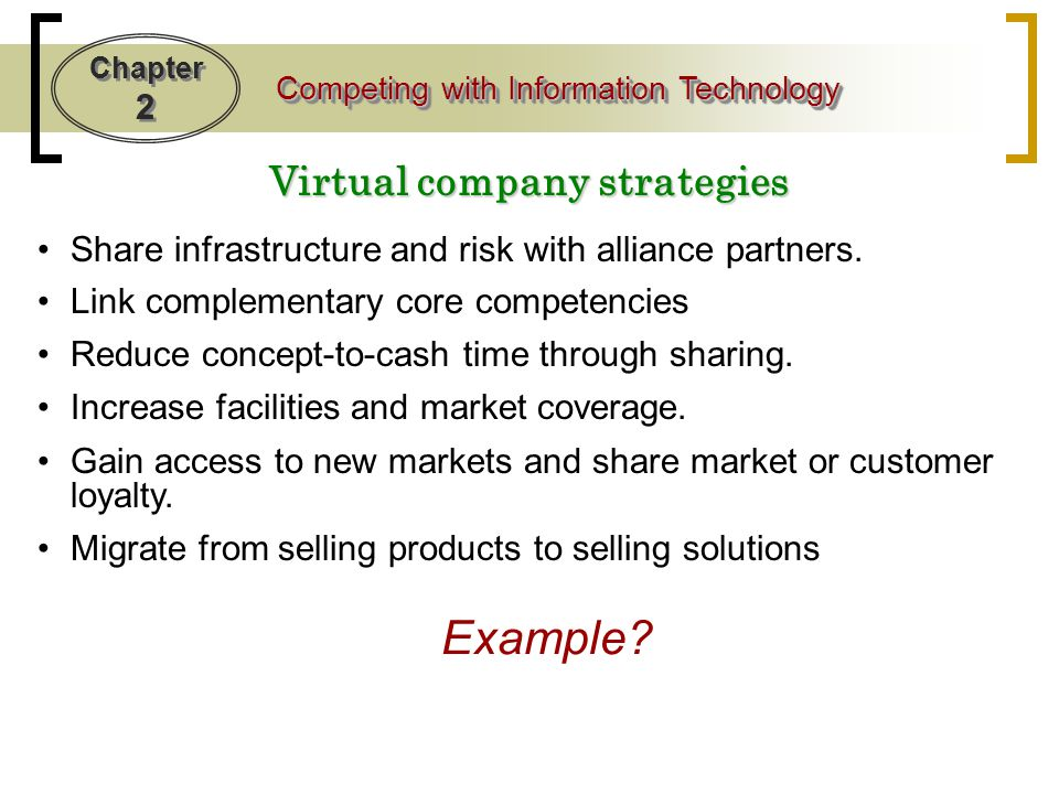 Virtual company strategies