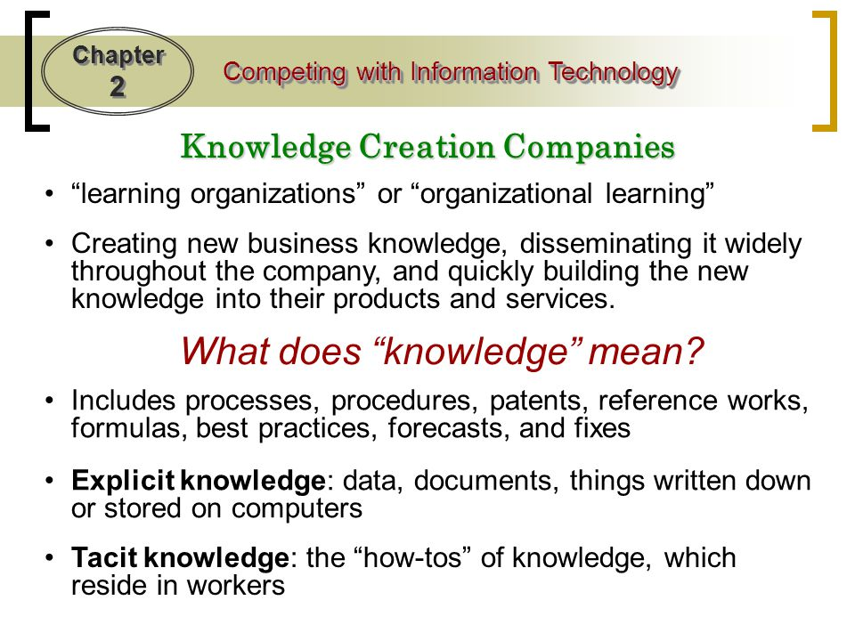 Knowledge Creation Companies