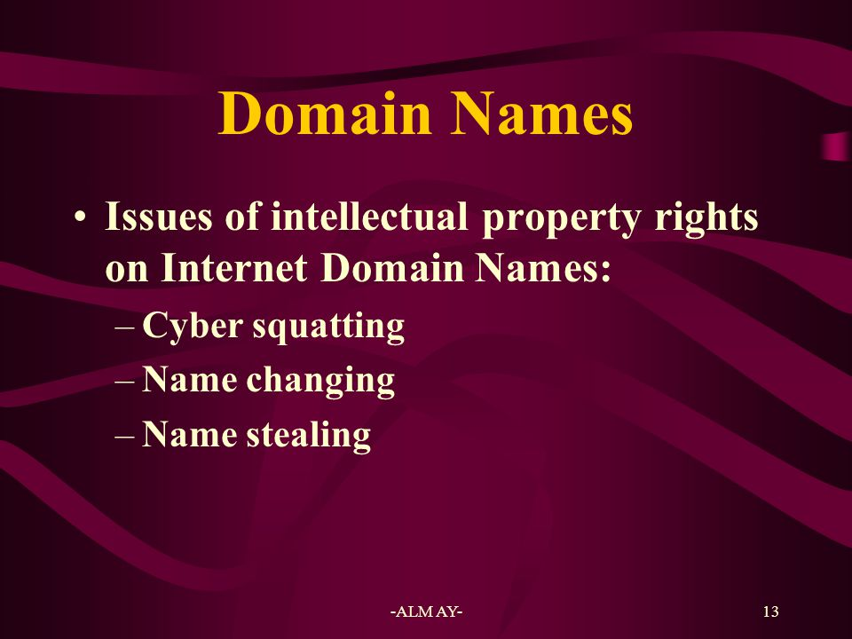 Domain Names Issues of intellectual property rights on Internet Domain Names: Cyber squatting. Name changing.