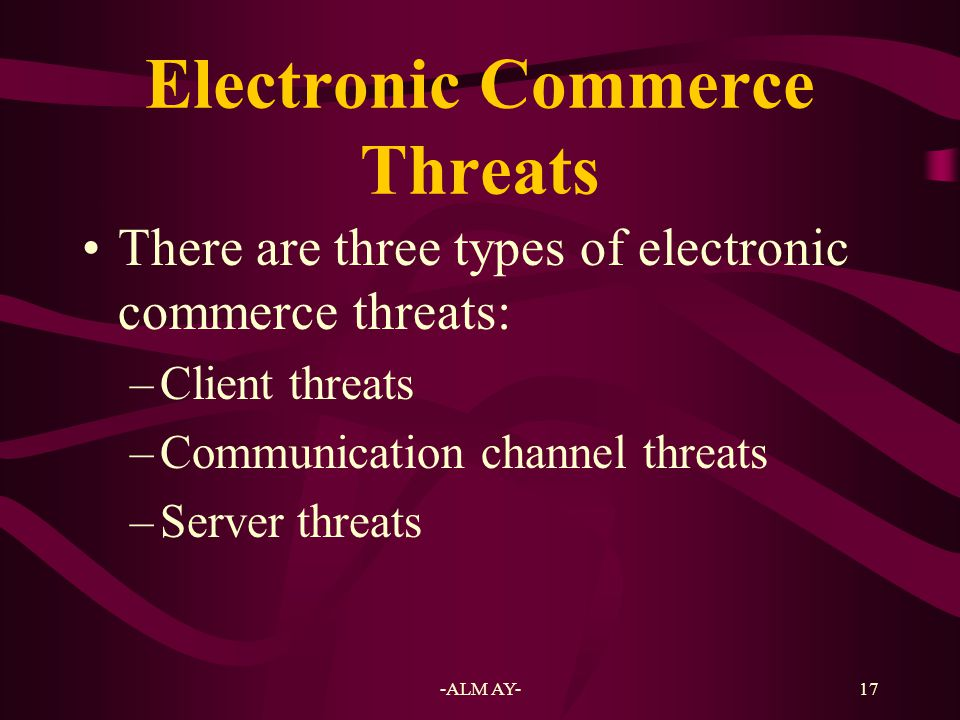 Electronic Commerce Threats