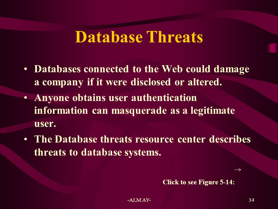 Database Threats Databases connected to the Web could damage a company if it were disclosed or altered.