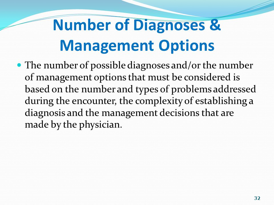 Number of Diagnoses & Management Options