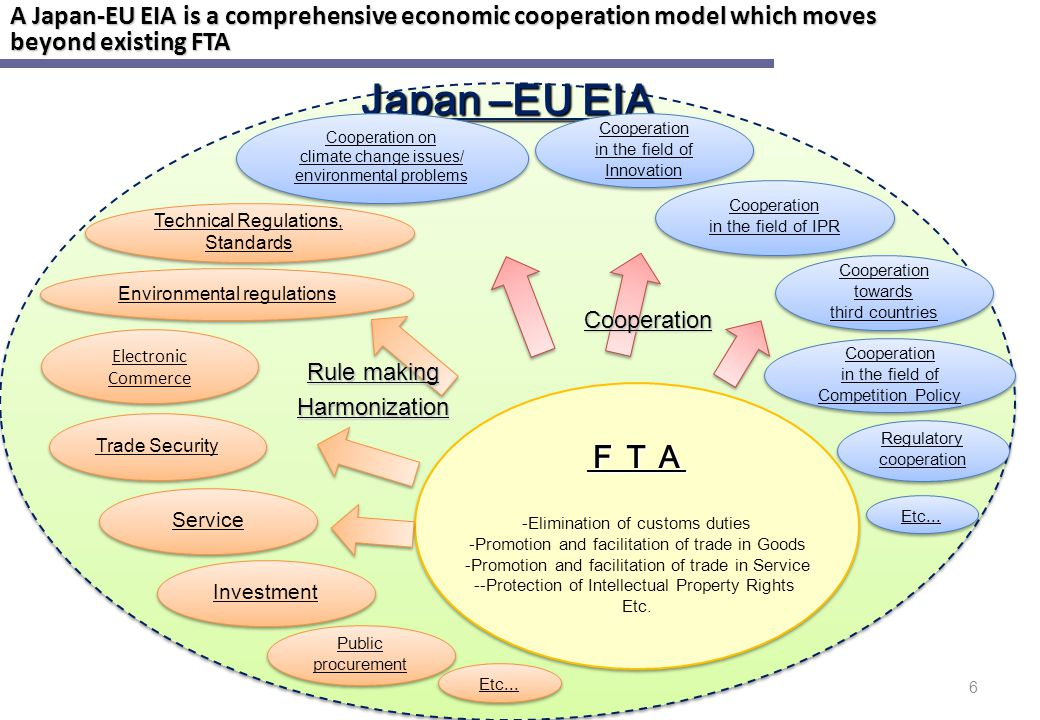A Japan-EU EIA is a comprehensive economic cooperation model which moves beyond existing FTA