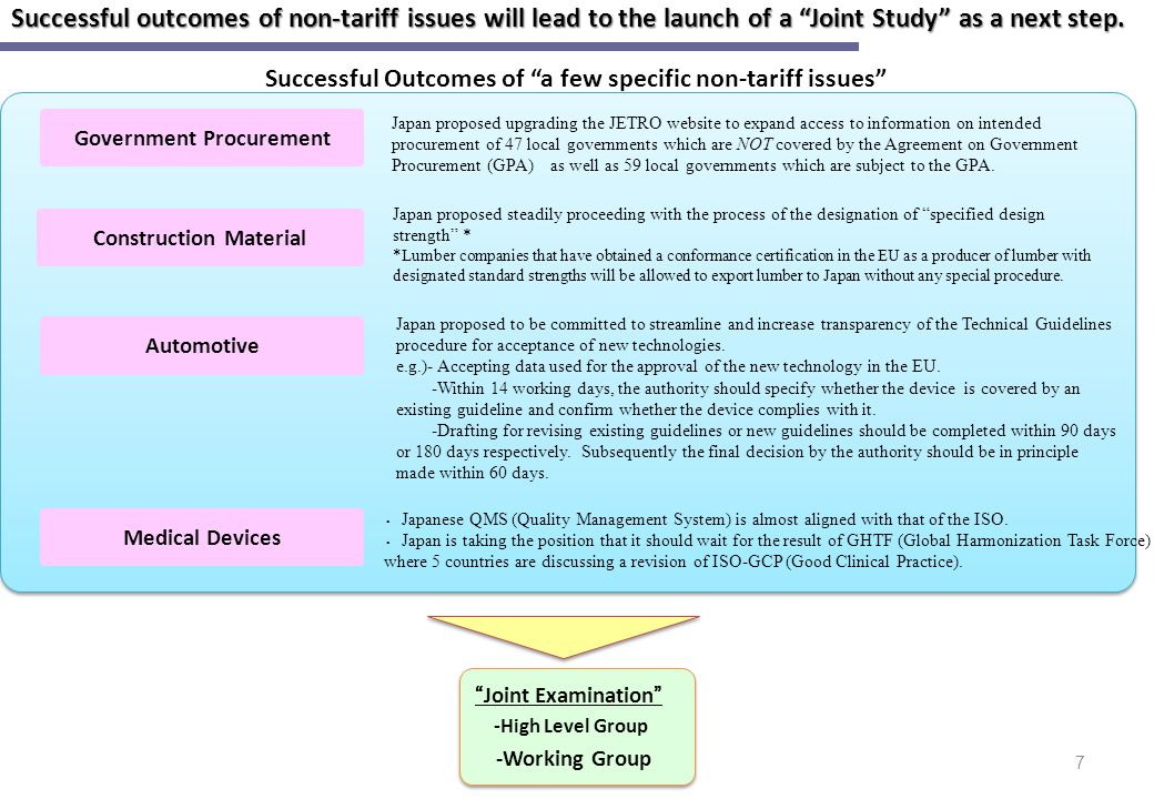 Successful outcomes of non-tariff issues will lead to the launch of a Joint Study as a next step.