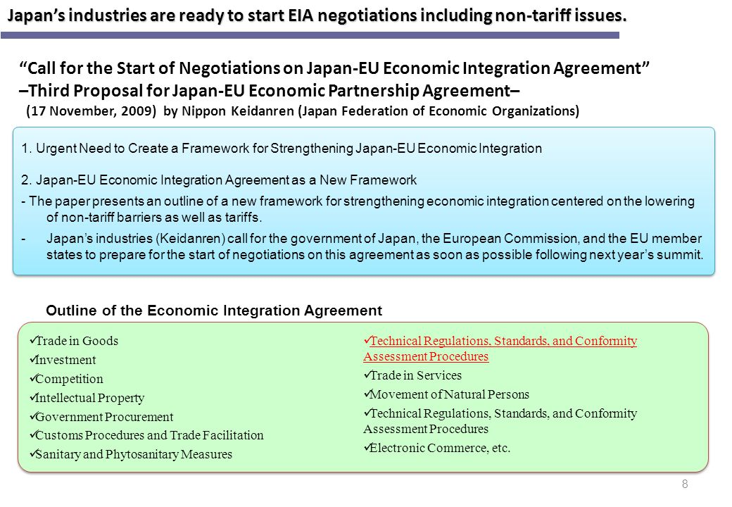 Outline of the Economic Integration Agreement