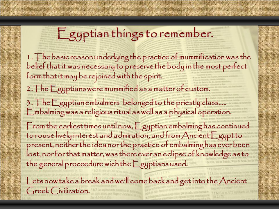 Egyptian things to remember.