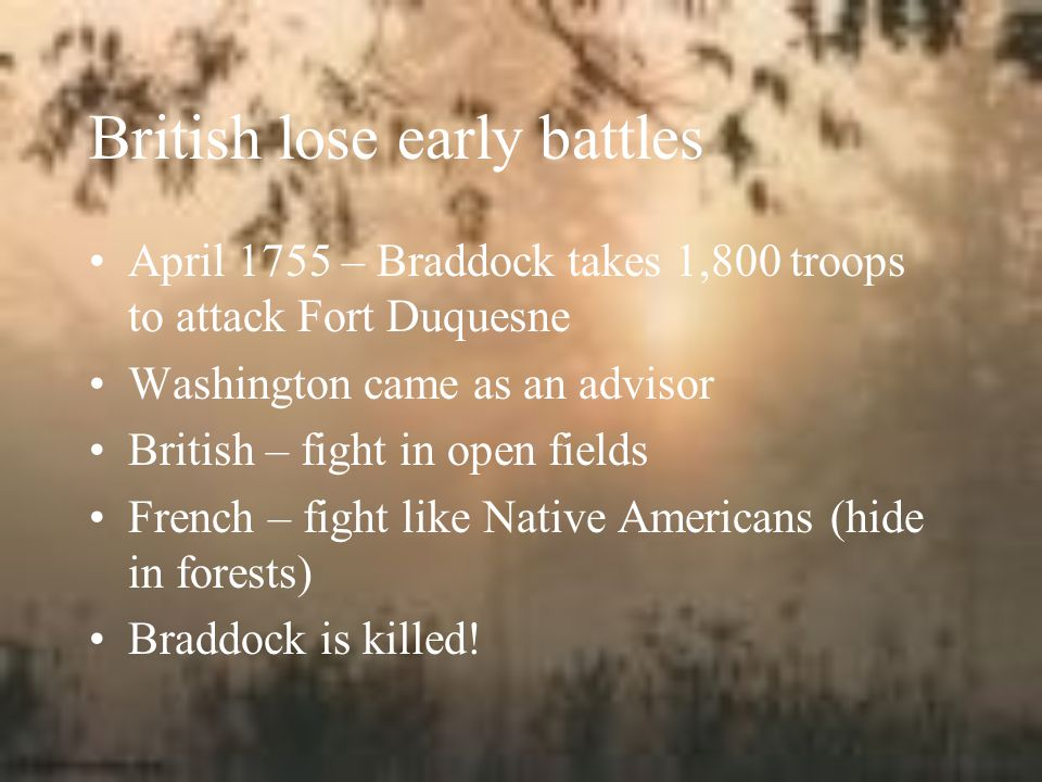 British lose early battles