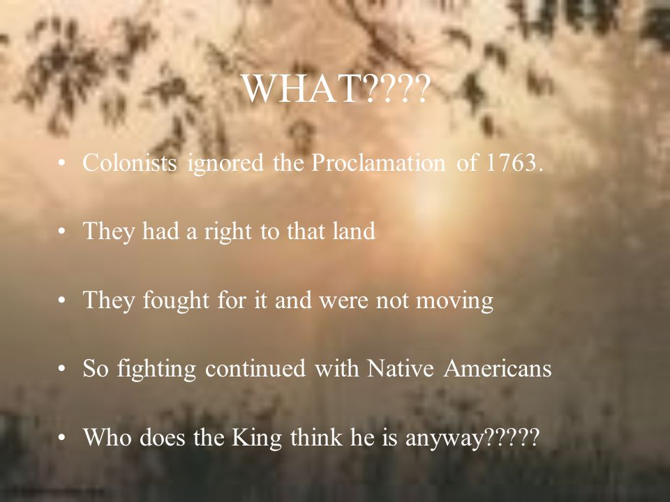 WHAT Colonists ignored the Proclamation of 1763.