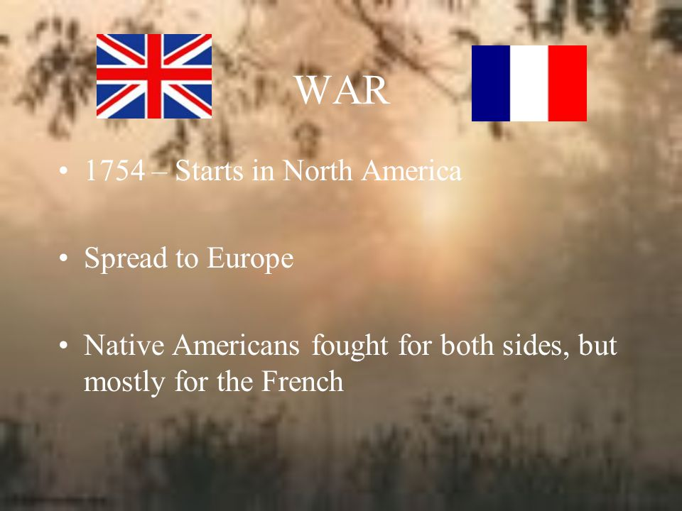WAR 1754 – Starts in North America Spread to Europe
