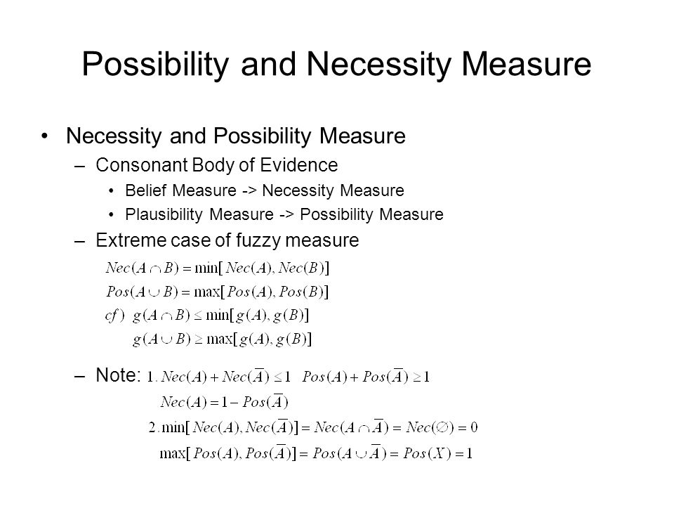 Possibility and Necessity Measure