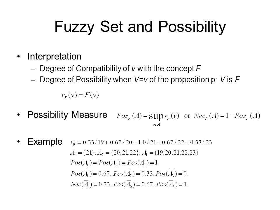 Fuzzy Set and Possibility