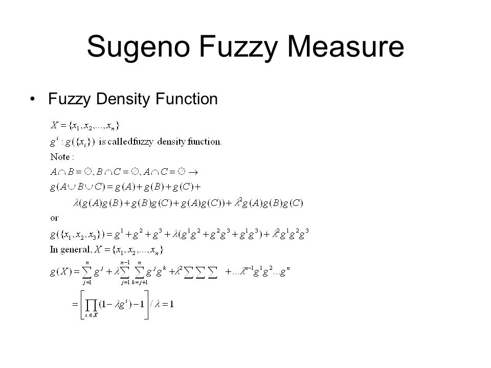 Sugeno Fuzzy Measure Fuzzy Density Function