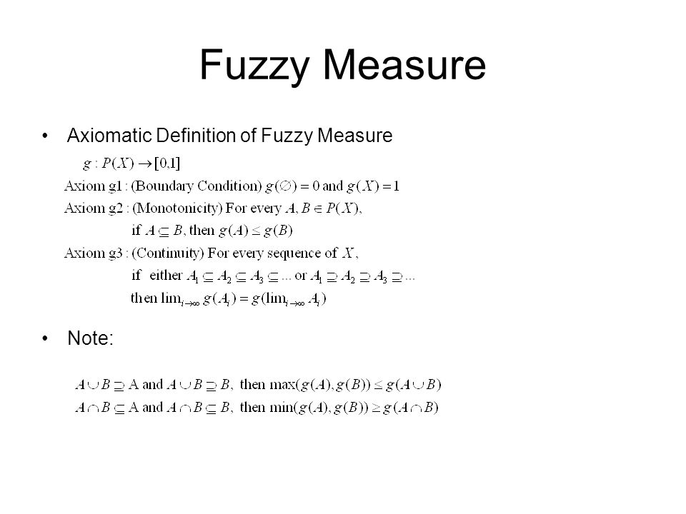 Fuzzy Measure Axiomatic Definition of Fuzzy Measure Note: