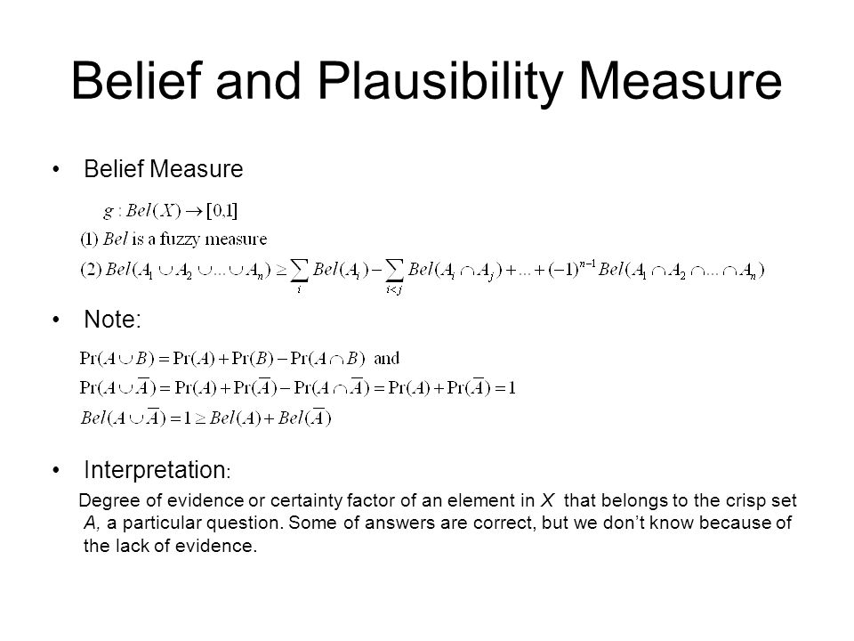 Belief and Plausibility Measure