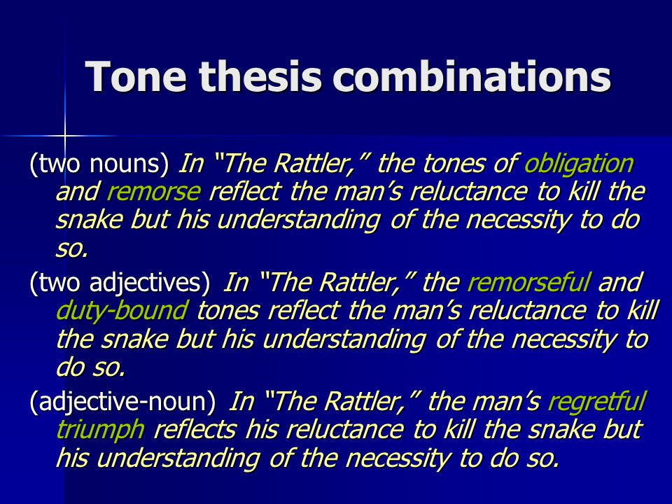 Tone thesis combinations