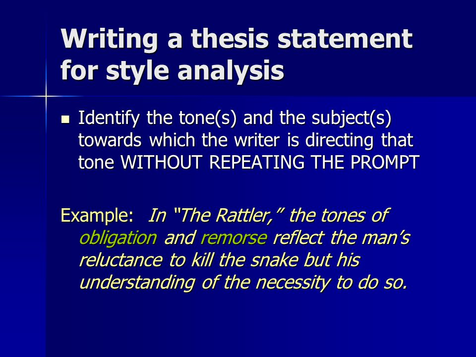 Writing a thesis statement for style analysis