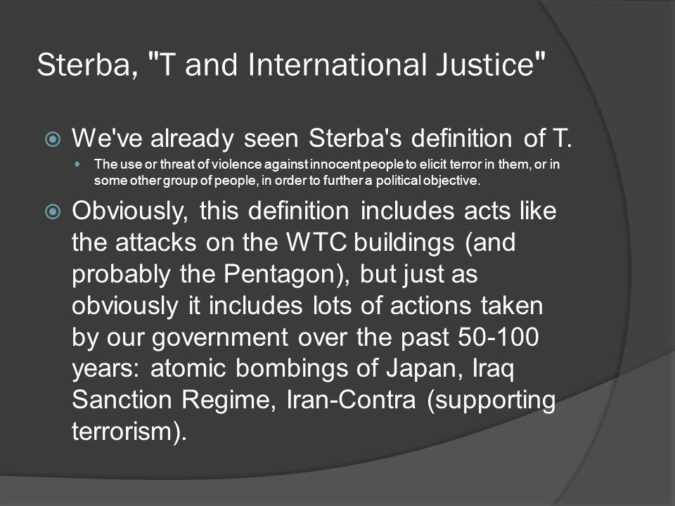 Sterba, T and International Justice