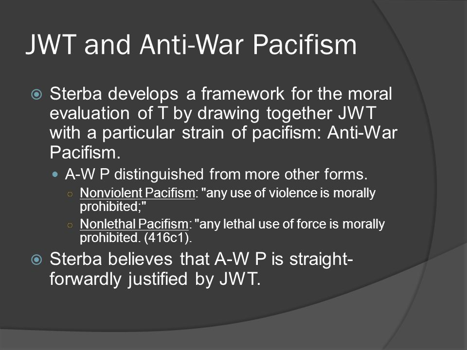 JWT and Anti-War Pacifism